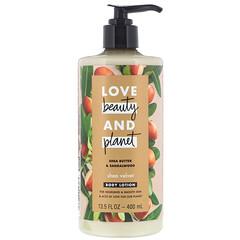 Love Beauty and Planet, 乳木果天鵝絨身體乳,含乳木果油和檀香,13.5 液量盎司(400 毫升)