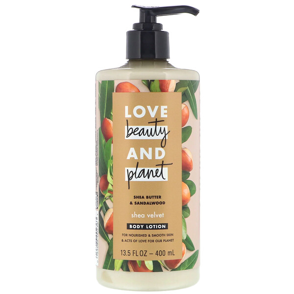Love Beauty and Planet, Loção corporal veludo de karité, manteiga de karité e sândalo, 400 ml