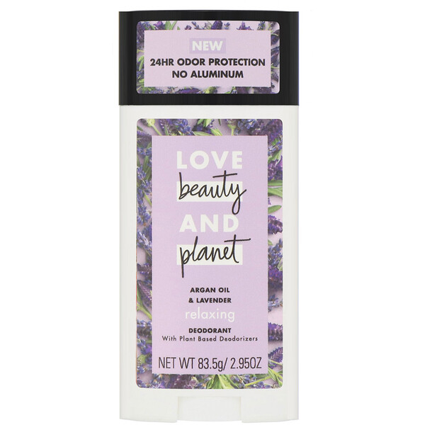 Love Beauty and Planet, Desodorante relaxante, óleo de argan e lavanda, 83,5 g