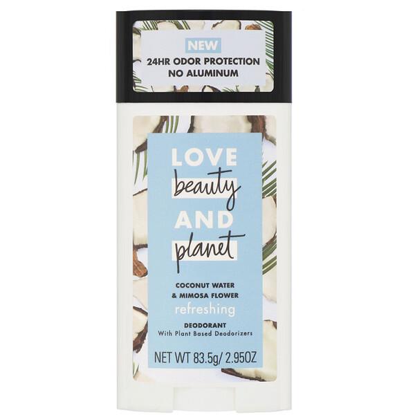 Love Beauty and Planet, Desodorante refrescante, água de coco e flor de mimosa, 83,5g