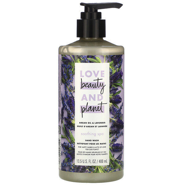 Love Beauty and Planet, Jabón líquido para las manos, Spa relajante, Soothing Spa, Aceite de argán y lavanda, 400 ml (13,5 oz. líq.)