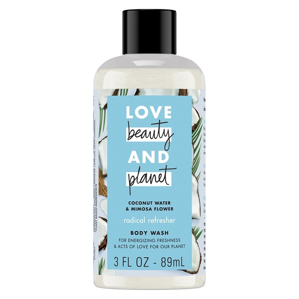 Love Beauty and Planet, Radical Refresher Body Wash, Coconut Water & Mimosa Flower, 3 fl oz (89 ml)