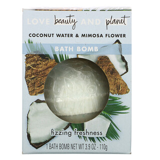Love Beauty and Planet, Bath Bomb, Coconut Water & Mimosa Flower, 3.9 oz (110 g)