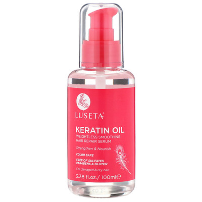 Купить Luseta Beauty Keratin Oil, легкая разглаживающая сыворотка для восстановления волос, 100мл (3, 38жидк.унции)