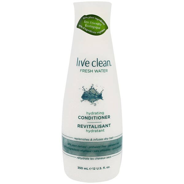 Live Clean, Hydrating Conditioner, Fresh Water, 12 fl oz (350 ml)