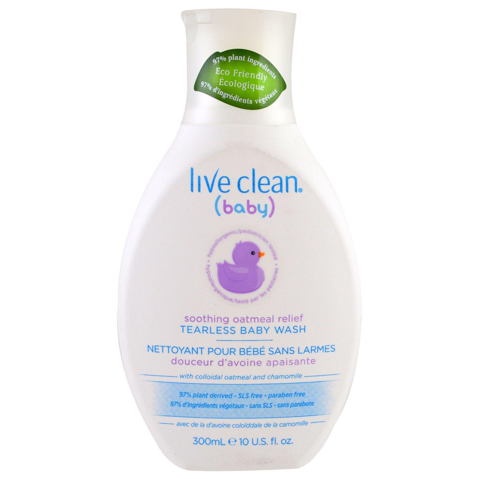 Live Clean, Baby, средство для купания детей без слез успокаивающего действия, с овсом, 300 мл (10 унций)
