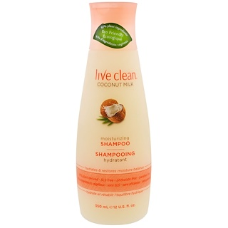 Live Clean, Moisturizing Shampoo, Coconut Milk, 12 fl oz (350 ml)