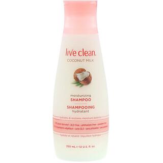 Live Clean, شامبو مرطب، حليب جوز الهند، 12 أوقية سائلة (350 مل)