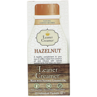 Leaner Creamer, Natural Coffee Creamer, Hazelnut, 20 Individual Packets, 0.18 oz (5 g)