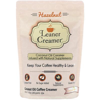 Leaner Creamer Coconut Oil Coffee Creamer, Hazelnut, 9.87 oz (280 g)  - купить со скидкой