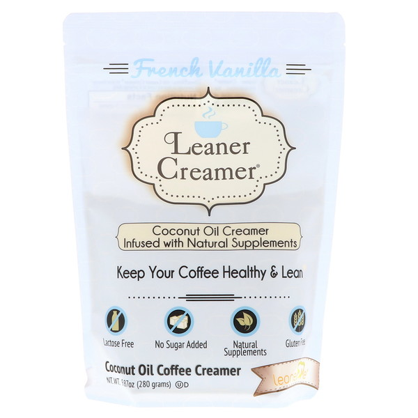 Leaner Creamer, Coconut Oil Coffee Creamer, French Vanilla, 9.87 oz (280 g)