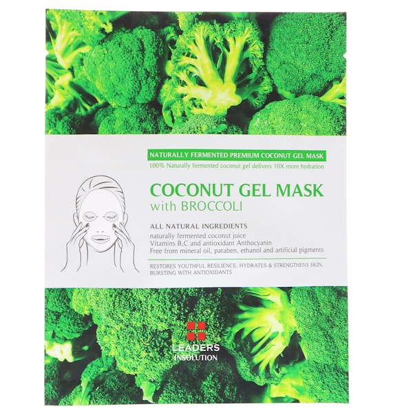 Leaders, Coconut Gel Mask with Broccoli, 1 Mask, 30 ml (Discontinued Item)