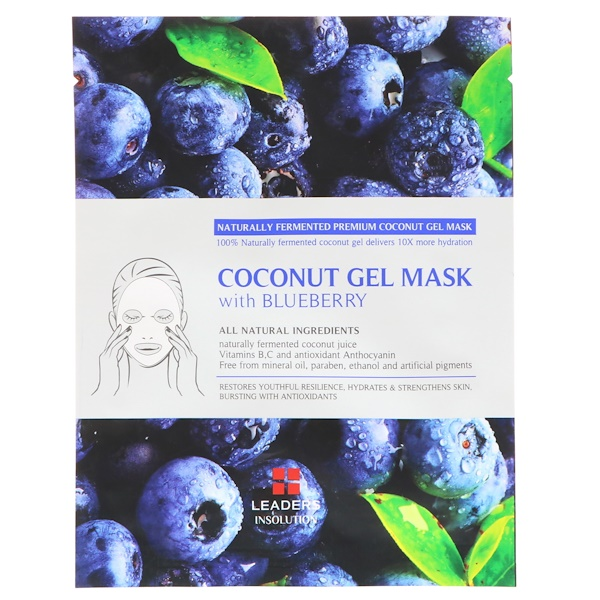Leaders, Coconut Gel Mask with Blueberry, 1 Mask, 30 ml (Discontinued Item)