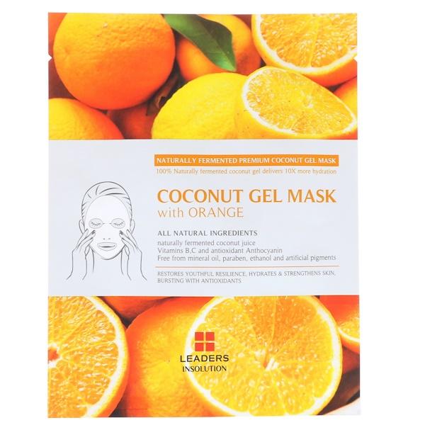 Leaders, Coconut Gel Mask with Orange, 1 Mask, 30 ml (Discontinued Item)