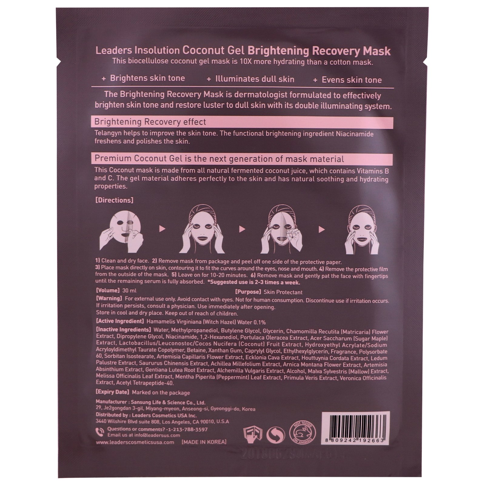 Leaders, Coconut Gel Brightening Recovery Mask, 1 Mask, 30 ml(pack of 12) Chap Ice Lip Balm - Soothes, Protects and Moisturizes - 12 sticks (Cherry)