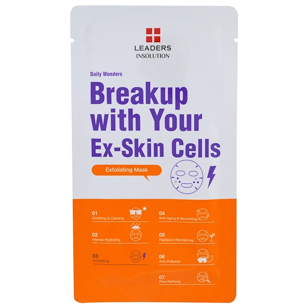Leaders, Insolution, Daily Wonders, Breakup with Your Ex-Skin Cells Exfoliating Mask, 1 Mask (Discontinued Item)