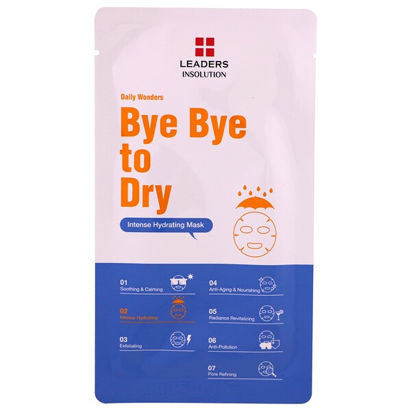 Leaders, Daily Wonders, Bye Bye to Dry, Intense Hydrating Mask, 1 Sheet, .84 fl oz (25 ml)