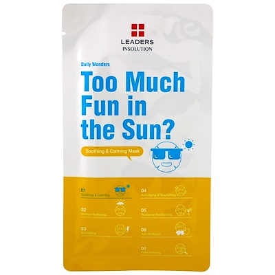 Leaders Too Much Fun in the Sun?(陽光下玩得太開心?),舒緩&舒膚面膜,1 片,0.84 液體盎司(25 毫升)