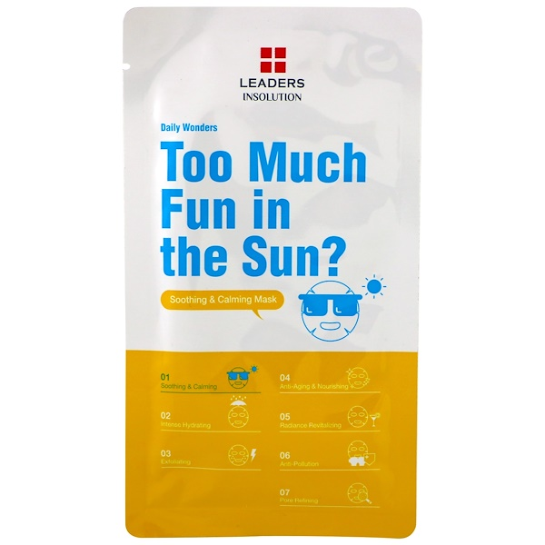 Leaders, Too Much Fun in the Sun?, Soothing & Calming Mask, 1 Mask, 0.84 fl oz (25 ml)
