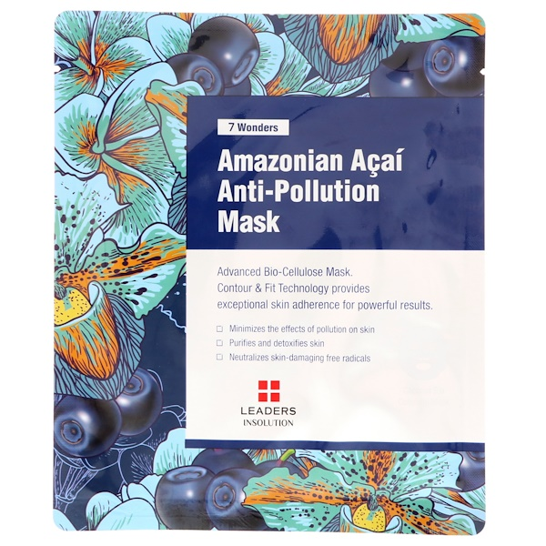 Leaders, 7 Wonders, Amazonian Acai Anti-Pollution Mask, 1 Mask, 30 ml (Discontinued Item)