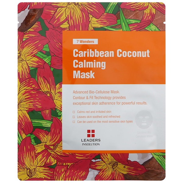 Leaders, 7 Wonders, Caribbean Coconut Calming Mask, 1 Mask, 30 ml