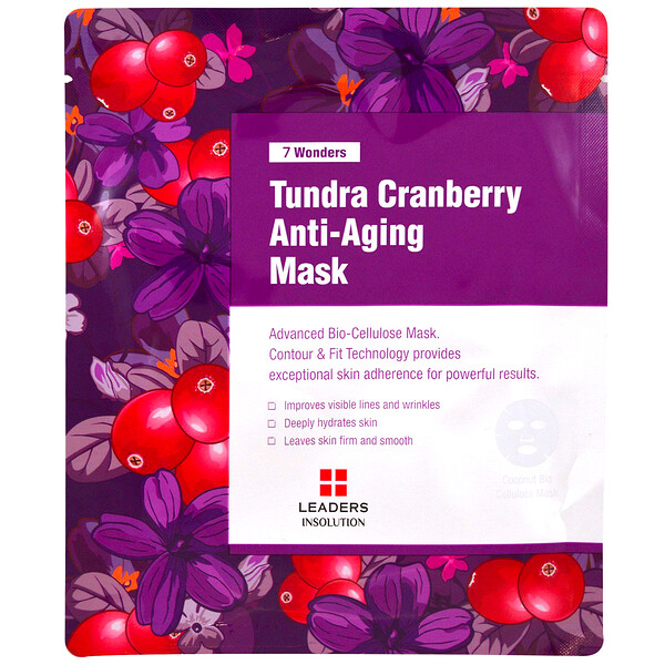 Leaders, 7 Wonders, Tundra Cranberry Anti-Aging Mask, 1 Sheet, 1.01 fl oz (30 ml)