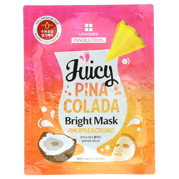 Leaders, Insolution, Juicy Pina Colada Bright Mask, Pineapple & Coconut, 1 Sheet, 1.01 fl oz (30 ml) (Discontinued Item)