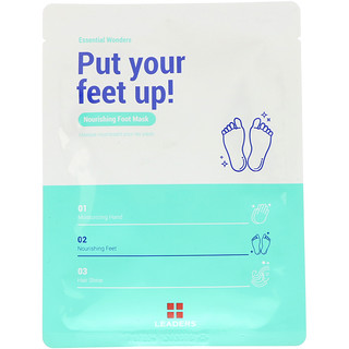 Leaders, Essential Wonders, Put Your Feet Up, Nourishing Foot Mask, 1 Pair, 18 ml