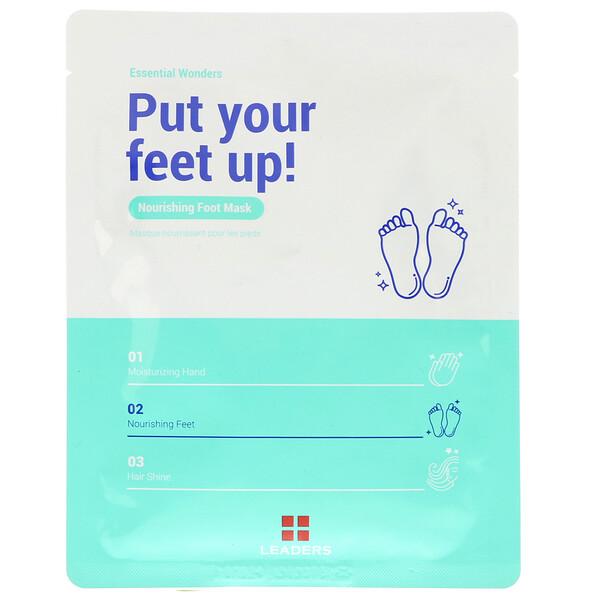 Leaders, Maravillas esenciales, realza tus pies, mascarilla nutritiva para pies, 1 par, 18 ml (Discontinued Item)