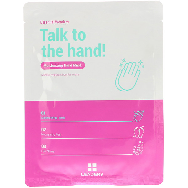 Leaders, Essential Wonders, Talk to the Hand, Moisturizing Hand Mask, 1 Pair, 16 ml