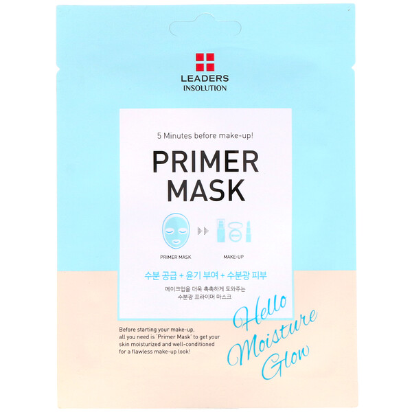 Leaders, Primer Mask, Hello Moisture Glow, 1 Sheet, 0.84 fl oz (25 ml)