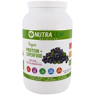 NutraLeaf Nutrition, Vegan Protein + Superfood, Natural Wild Blueberry Acai, 37.4 oz (1,050 g)