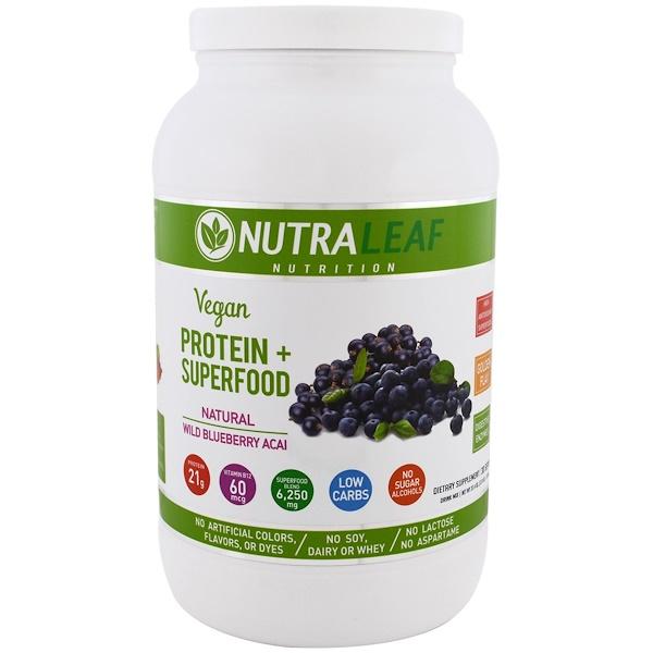 NutraLeaf Nutrition, 純素蛋白質+超級食物,天然野生巴西藍莓,37、4盎司(1050克)