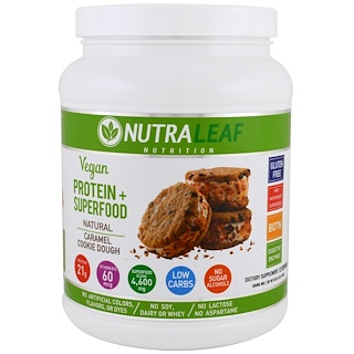 NutraLeaf Nutrition, Protein + Superfood Drink Mix, Vegan, Natural Caramel Cookie Dough, 16 oz (454 g)