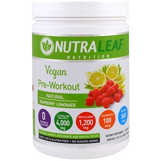 NutraLeaf Nutrition, Pre-Workout Drink Mix Powder, Vegan, Natural Raspberry Lemonade, 10.15 oz (288 g)