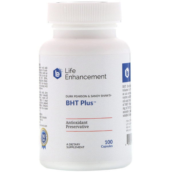 Life Enhancement, Durk Pearson & Sandy Shaw's BHT Plus, добавка с бутилгидрокситолуолом, 100 капсул