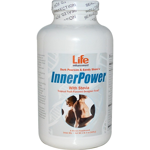 Life Enhancement, Durk Pearson & Sandy Shaw's, InnerPower with Stevia Drink Mix, Tropical Fruit-Flavored, 1 lb 3 oz (549 g) (Discontinued Item)