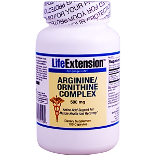 Life Extension, Arginine/Ornithine Complex, 500 mg, 100 Capsules (Discontinued Item)