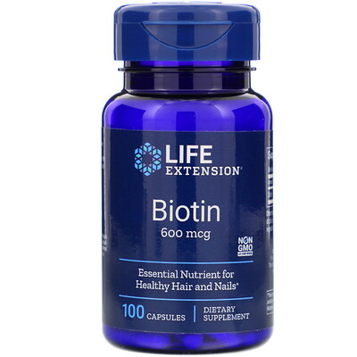 Купить Биотин, 600 мкг, 100 капсул