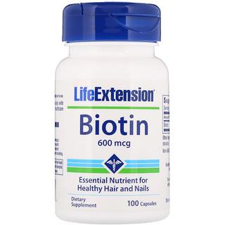 Life Extension, Biotin, 600 mcg, 100 Capsules