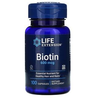 Life Extension, بيوتين، 600 مكجم، 100 كبسولة