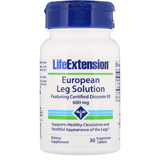 Life Extension, European Leg Solution, Featuring Certified Diosmin 95, 600 mg, 30 Vegetarian Tablets
