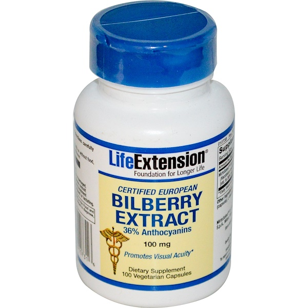 Life Extension, Bilberry Extract, 100 mg, 100 Veggie Caps (Discontinued Item)