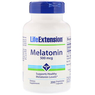 Life Extension, Mélatonine, 500 μg, 200 capsules végétales