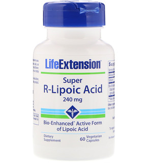 Life Extension, Super Ácido R-Lipóico, 240 mg, 60 Cápsulas Vegetais