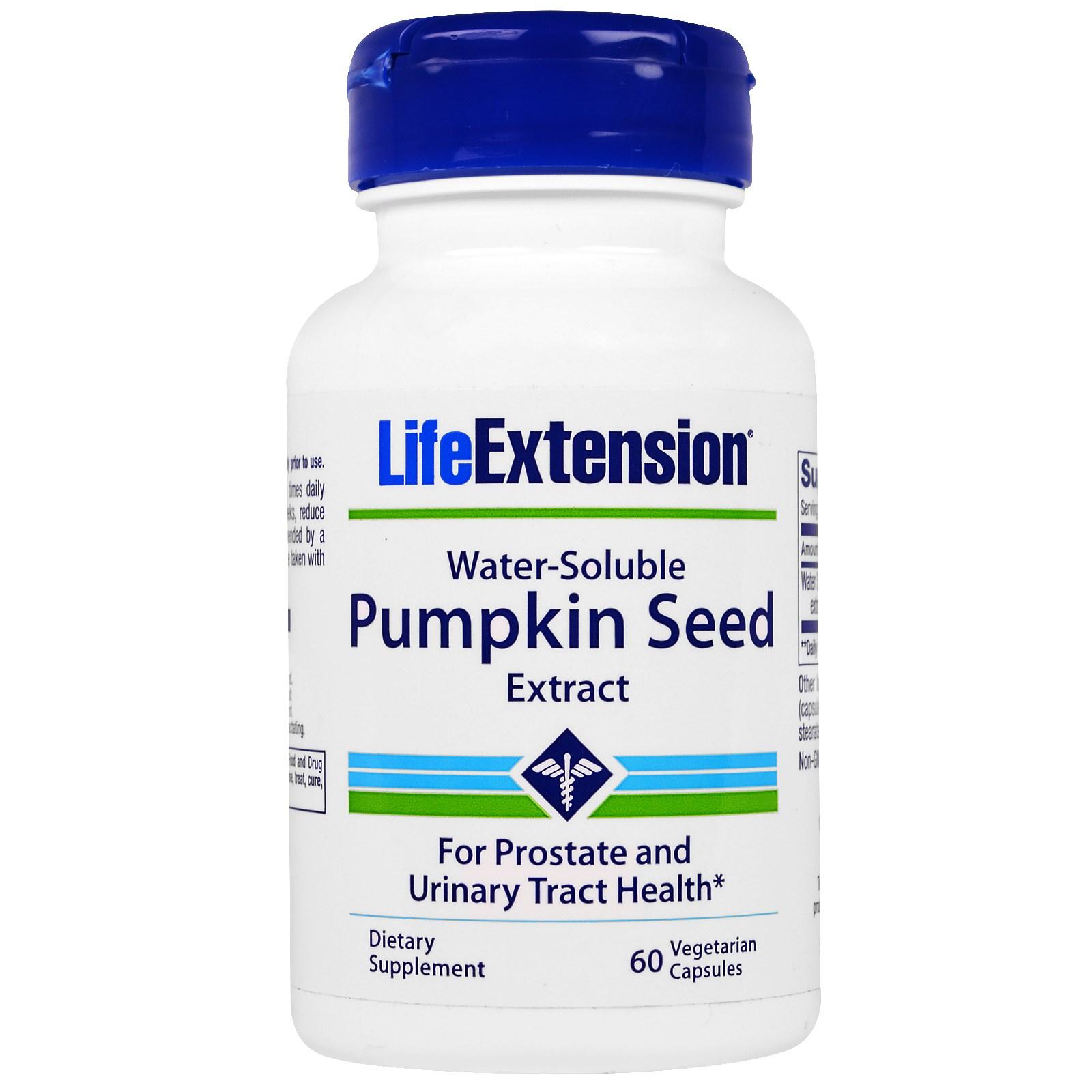Life Extension, Водорастворимый экстракт семян тыквы, 60 вегетарианских капсул