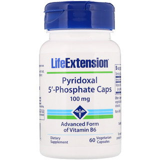 Life Extension, Pyridoxal 5'-Phosphate Caps ، 100 ملغ، 60 كبسولة نباتية