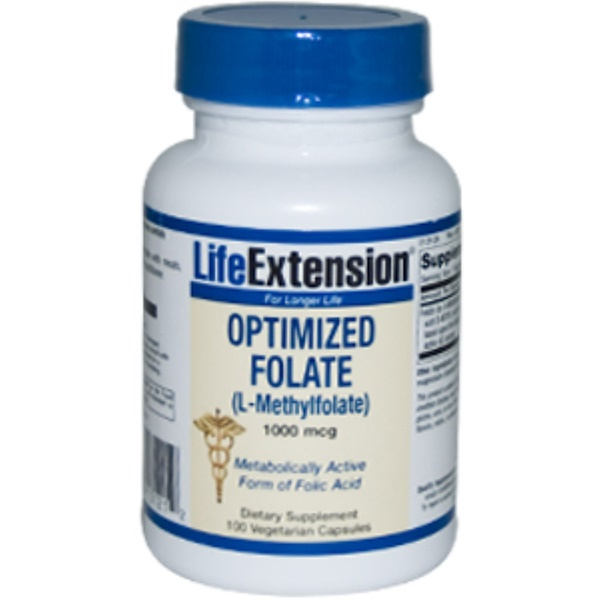 Life Extension, Optimized Folate (L-Methylfolate), 1000 mcg, 100 Veggie Caps (Discontinued Item)