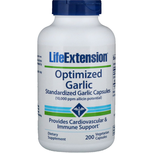 Life Extension, Optimized Garlic, Standardized Garlic Capsules, 200 Vegetarian Capsules