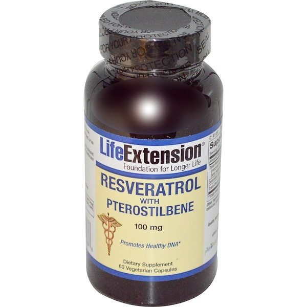Life Extension, Resveratrol with Pterostilbene, 100 mg, 60 Veggie Caps